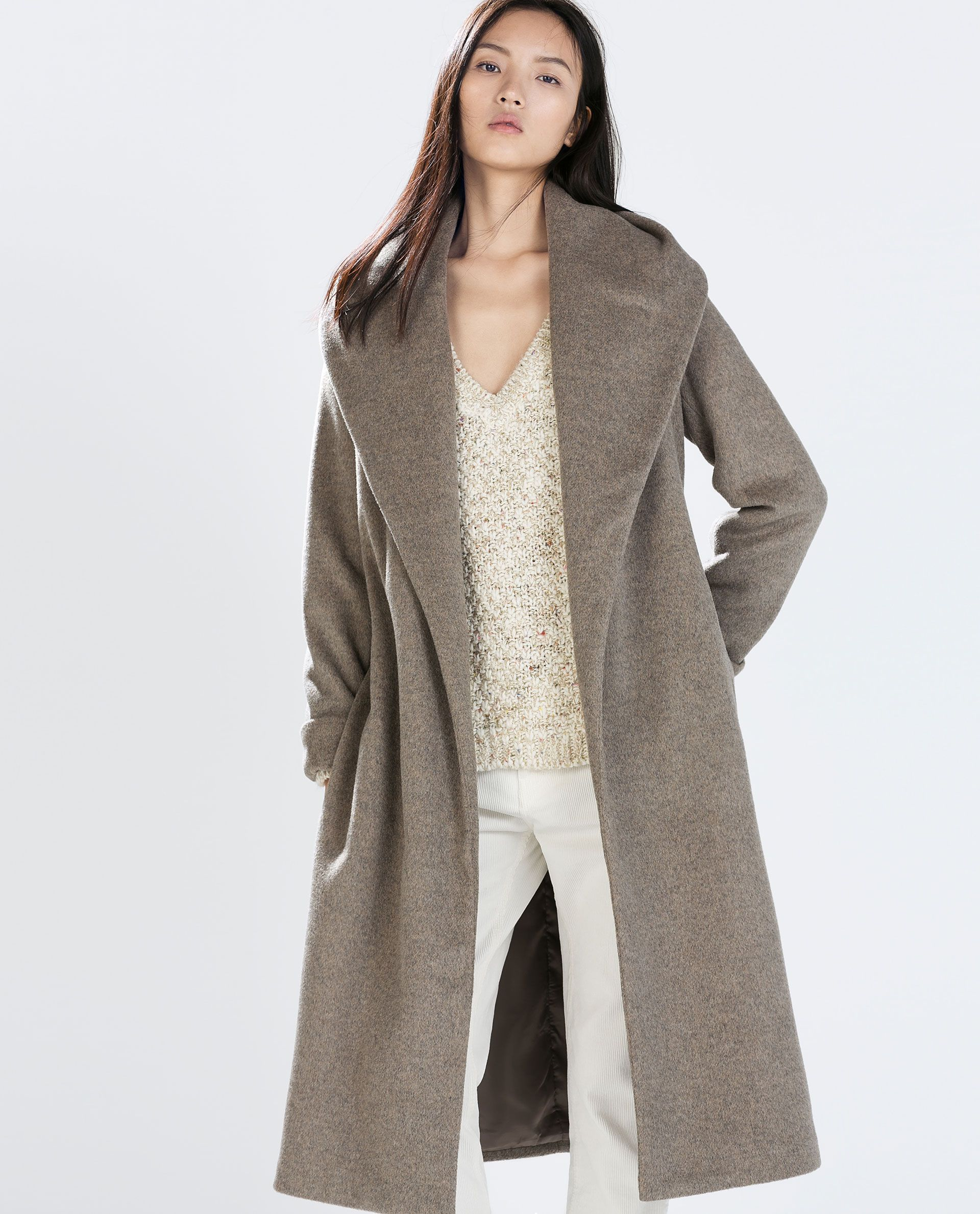 01d45898 ZARA - WOMAN - WOOL COAT WITH BELT. It's like a chic robe! Perfect to throw  on over something casual plus instant outfit upgrade :)