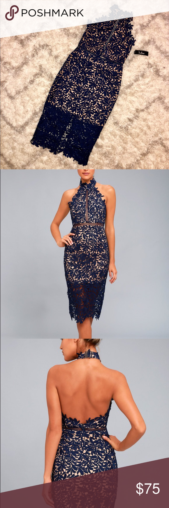 4f65a07300b5e Divine Destiny Navy Blue Lace Midi Dress Brand new with tags - never been  worn!