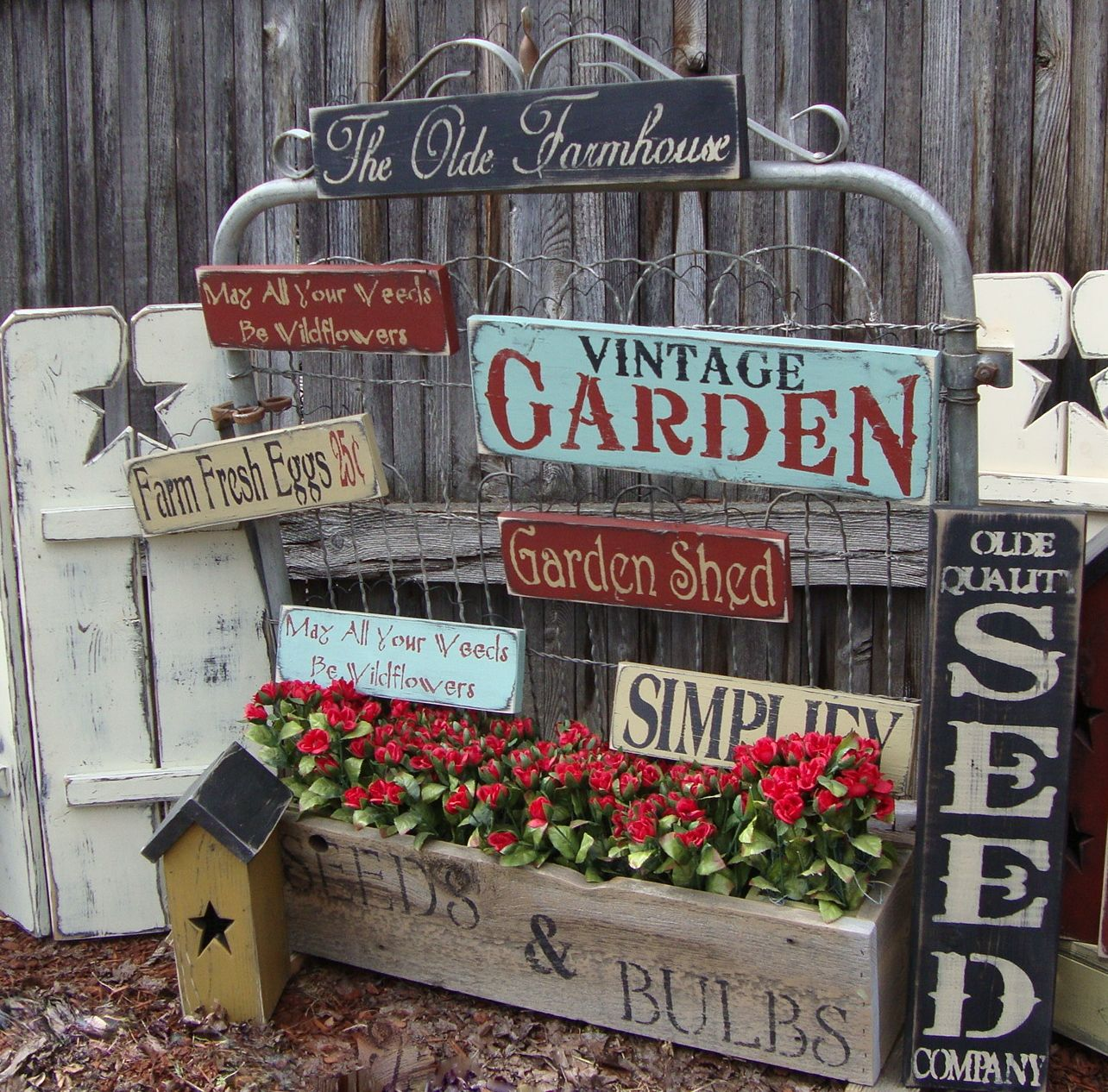 gorgeous prim garden signs shutters and birdhouse