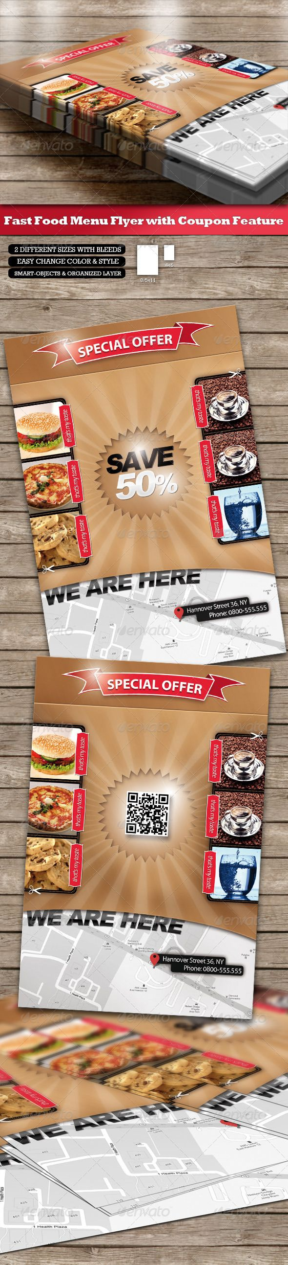 Fast Food Menu Flyer  Coupon Function And QrCode  Food Menu Qr