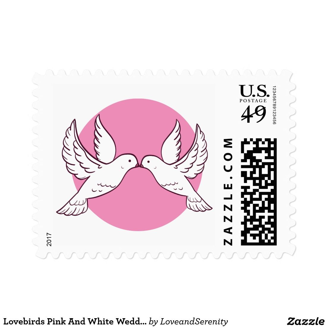 Lovebirds Pink And White Wedding Doves Postage | Pink Love ...