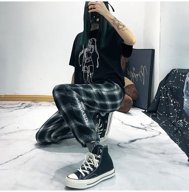 Photo of Women's Hip Hop Black&White Plaid Pants