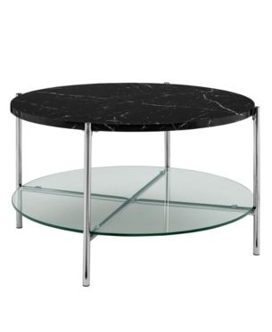 32 Inch Round Coffee Table In Black Faux Marble With Glass Shelf