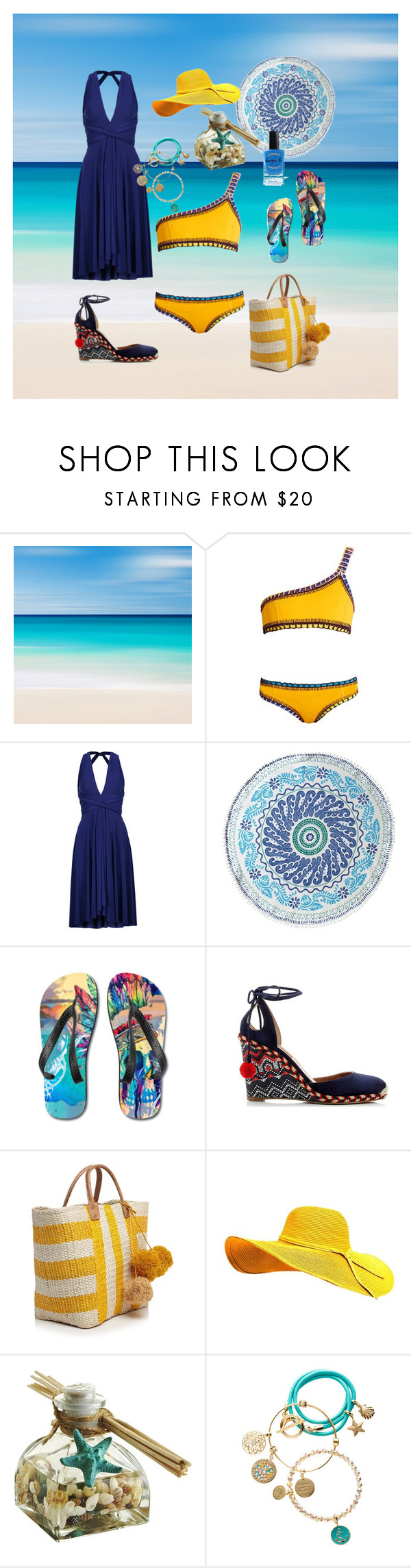 """Missing the Beach"" by ipekzsuel on Polyvore featuring kiini, Norma Kamali, John Robshaw, Aquazzura, Mar y Sol, Pier 1 Imports, nikki lissoni and Lauren B. Beauty"
