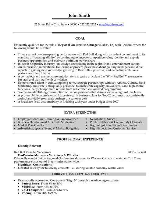 A professional resume template for a Regional On Premise Manager