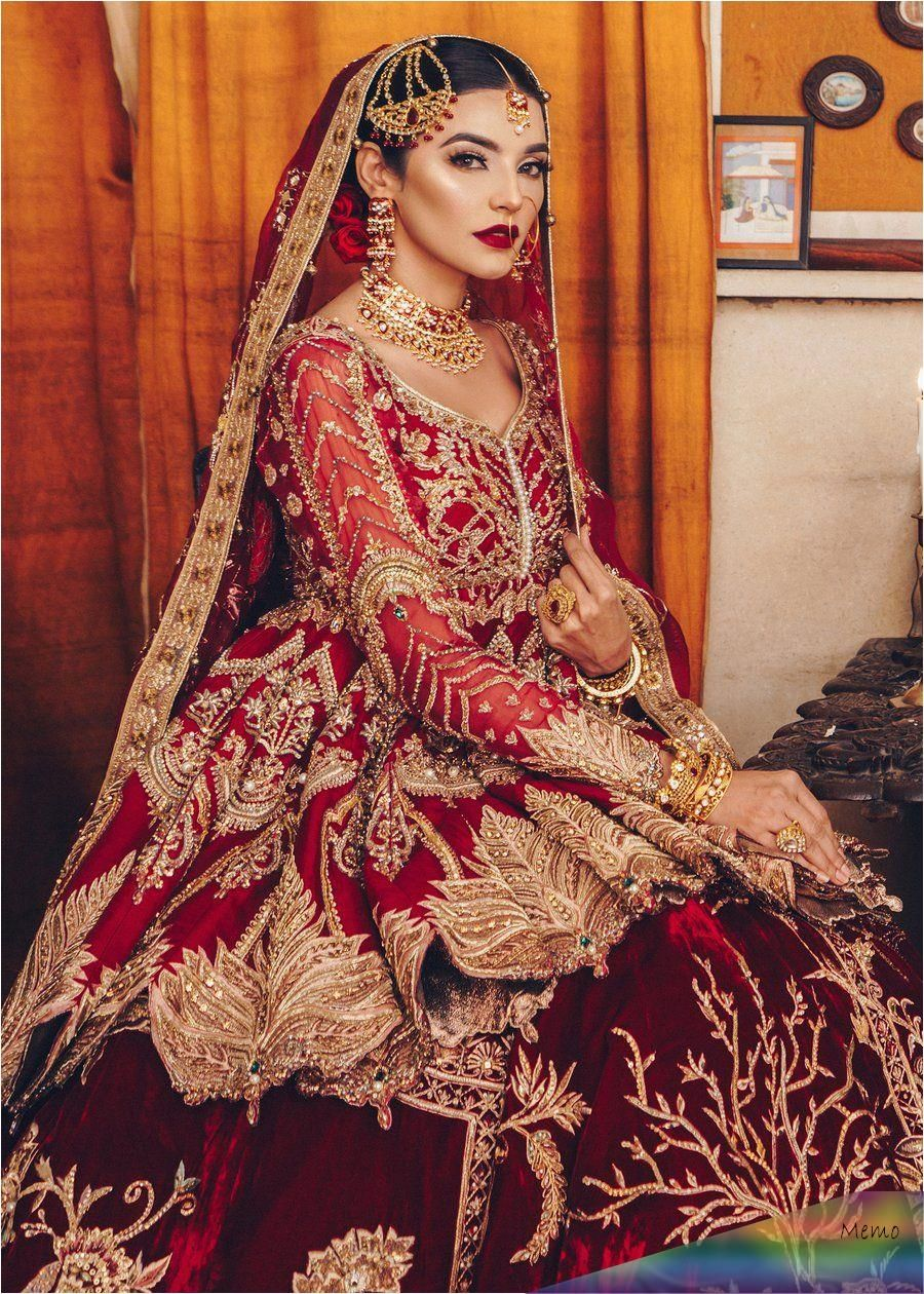 Pin by Omari on lengah in 17  Red bridal dress, Pakistani