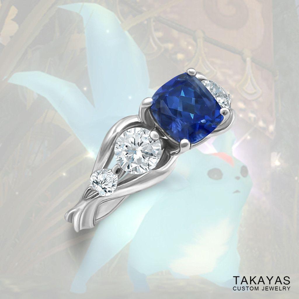 Final Fantasy XIV Carbuncle Inspired Engagement Ring