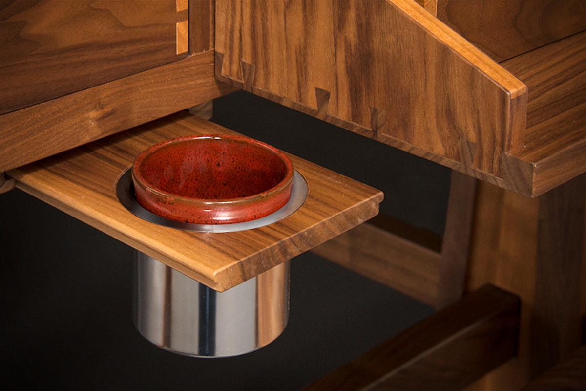 Sultan Gaming Table Cup Holder Slides Out From Rail Beneath Table Top  Beside Player Stations.