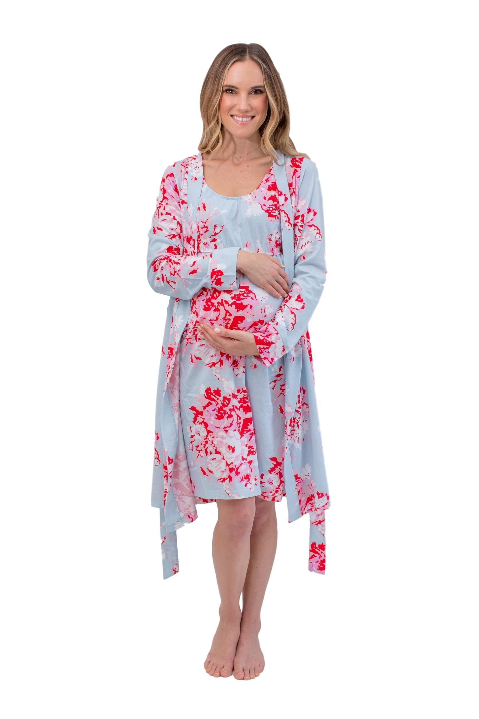 58faf497f3157 Mae Floral 3 in 1 Maternity Labor Delivery Nursing Hospital Birthing Gown &  Matching Robe