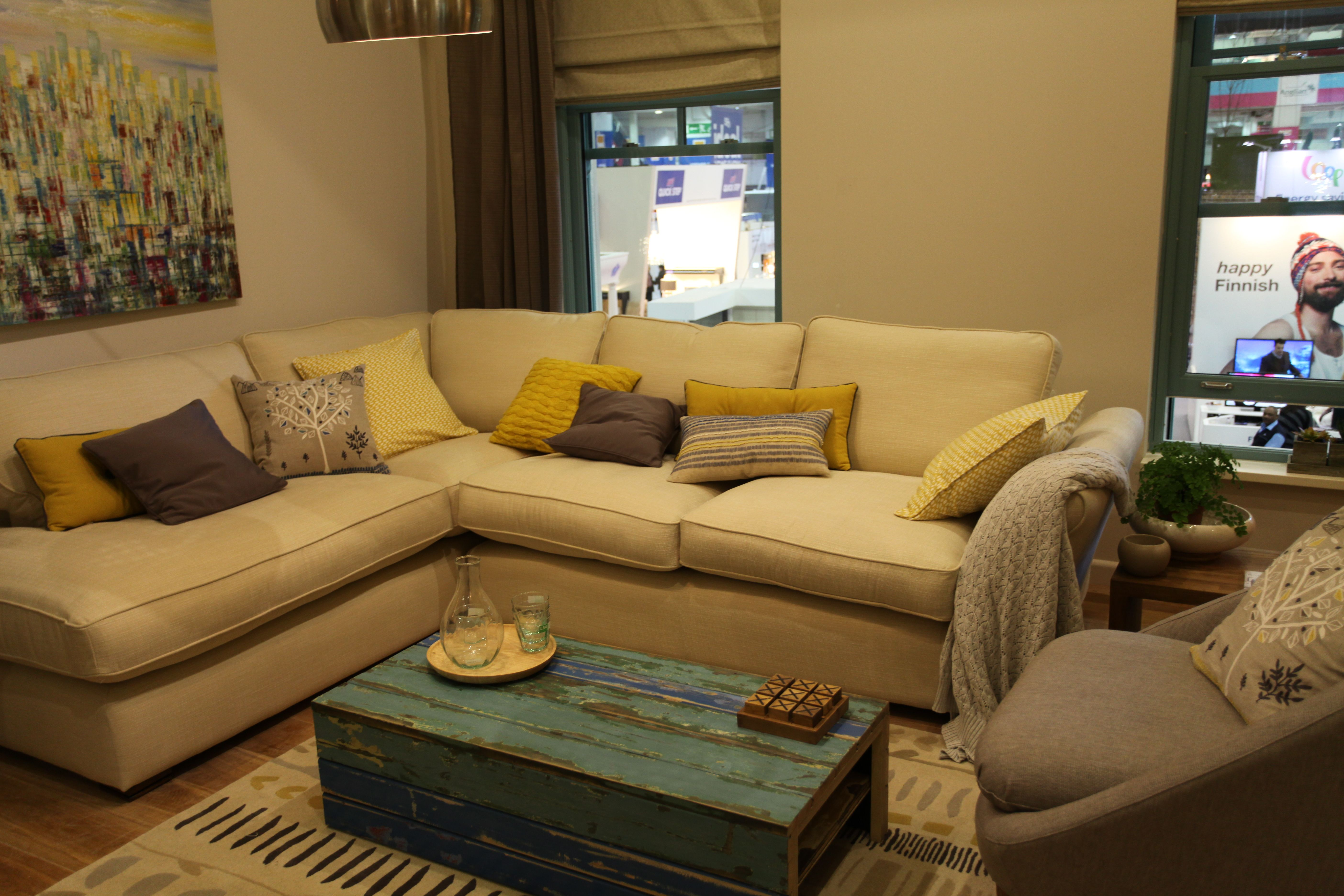 Rustic Living Room With Teal Yellow And Dusky Brown Love This