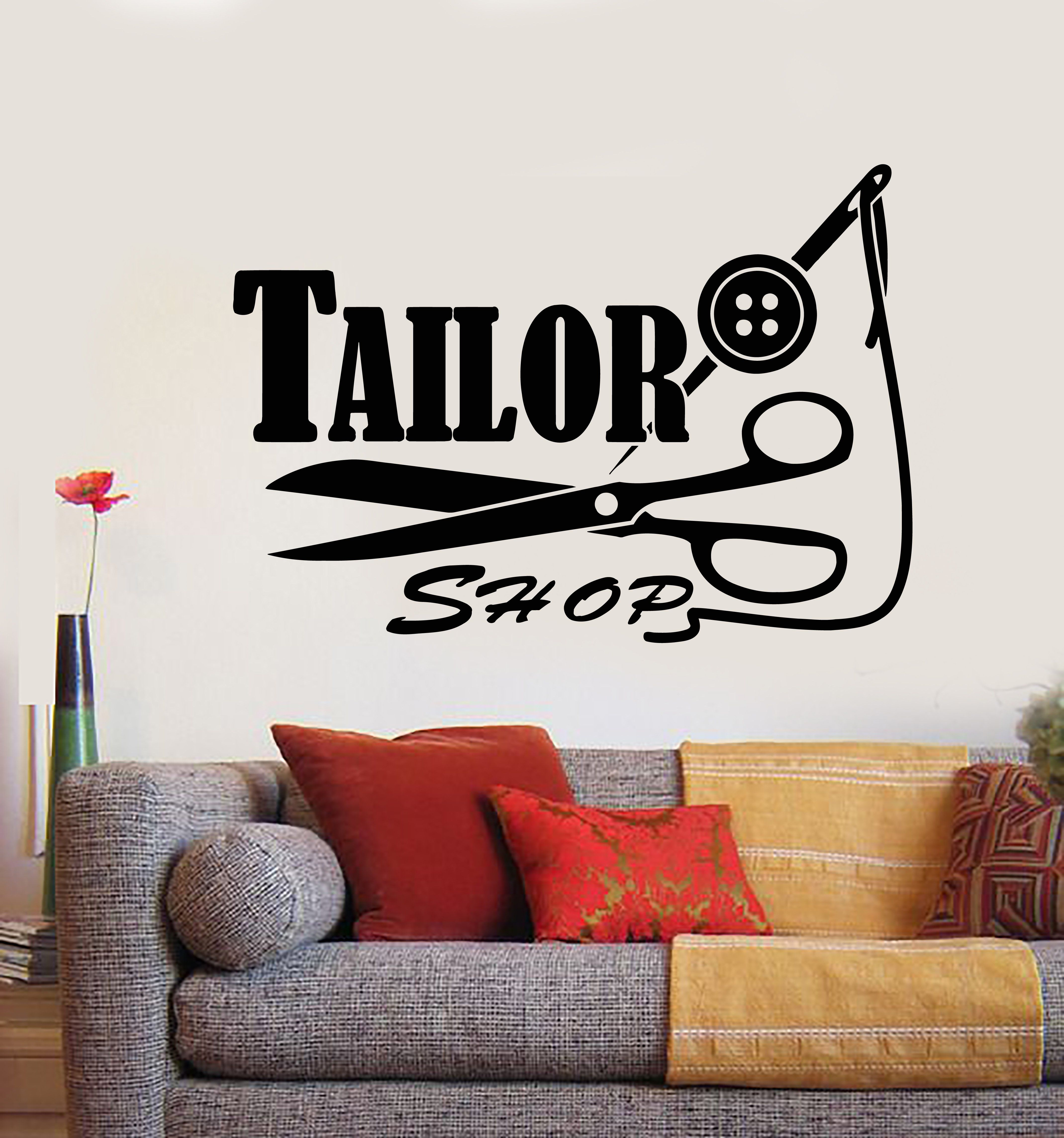 Vinyl wall decal seamstress tailor shop logo threads needle scissors stickers 2225ig