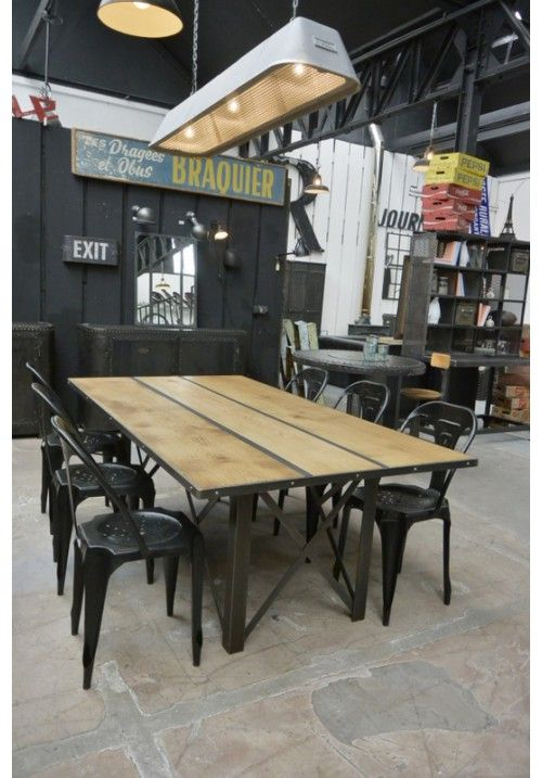 Table industrielle ch ne sam pinterest tables for Table extensible industrielle
