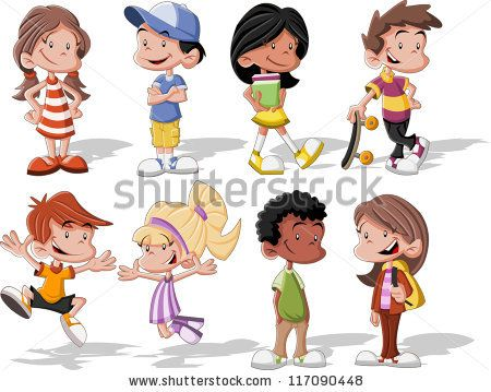 group of cute happy cartoon kids by denis cristo via shutterstock - Cartoon Pictures Of Kids