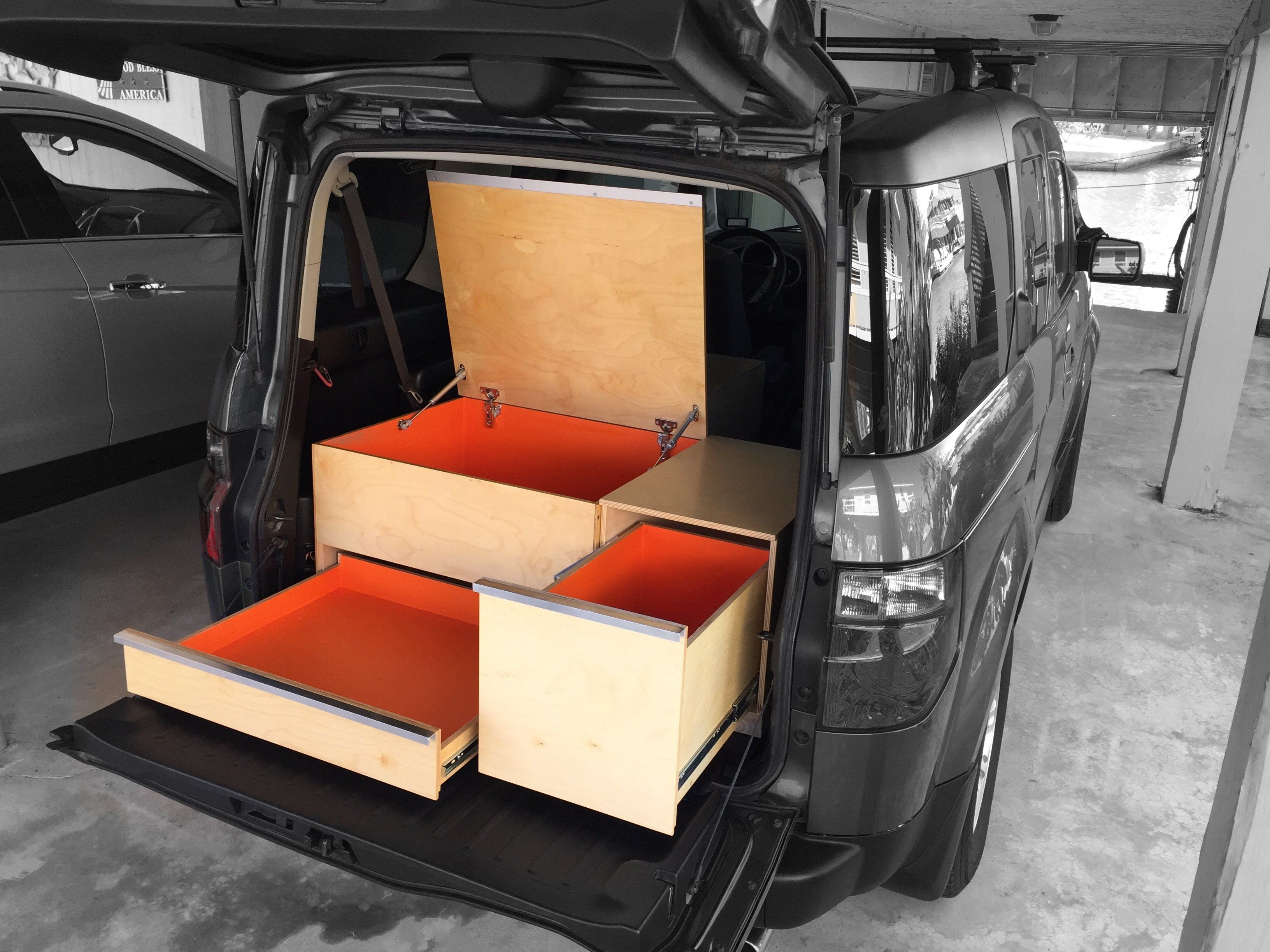The honda element is ideal for car camping in many ways these plywood boxes maximize
