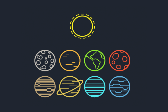 Solar System Line Icons Solar System Tattoo Solar System Solar System Design