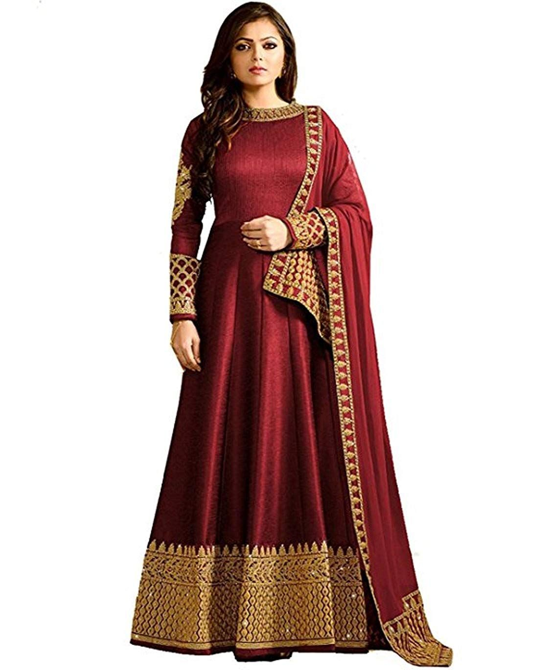 Womenus latest heavy red color embroidered wedding wear festival