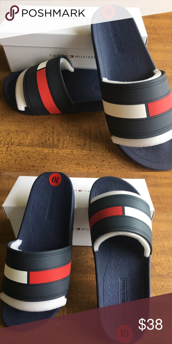 4fb73fd9cdeb2 Tommy Hilfiger Slides Size 10! Brand new in box! Size 10 in men s. Tommy  Hilfiger Shoes Sandals   Flip-Flops