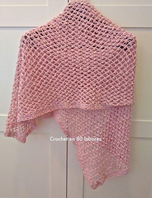 Crochet en 80 labores: Chal en punto trellis   bufandas de crochet ...