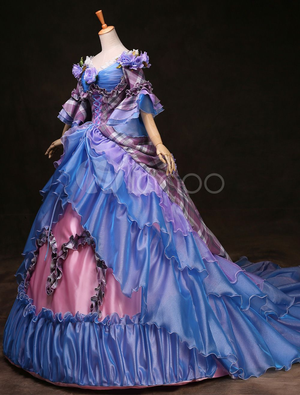 Royal Retro Costume Women\'s Rococo Ball Gown Blue Plaid Tiered ...