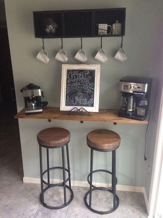 11.25 Deep Loft Bar Table, Industrial Floating Rustic Wood and Pipe Shelf, Wall Shelf, Open Shelving, Farmhouse shelf, Solid Pinewood shelf