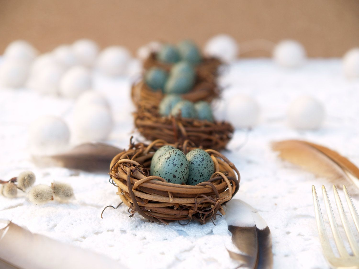 Nest Wedding Table Decorations 5 Spring Woodland Rustic Favor Easter Robin  Egg Turquoise Blue Pastel Shabby