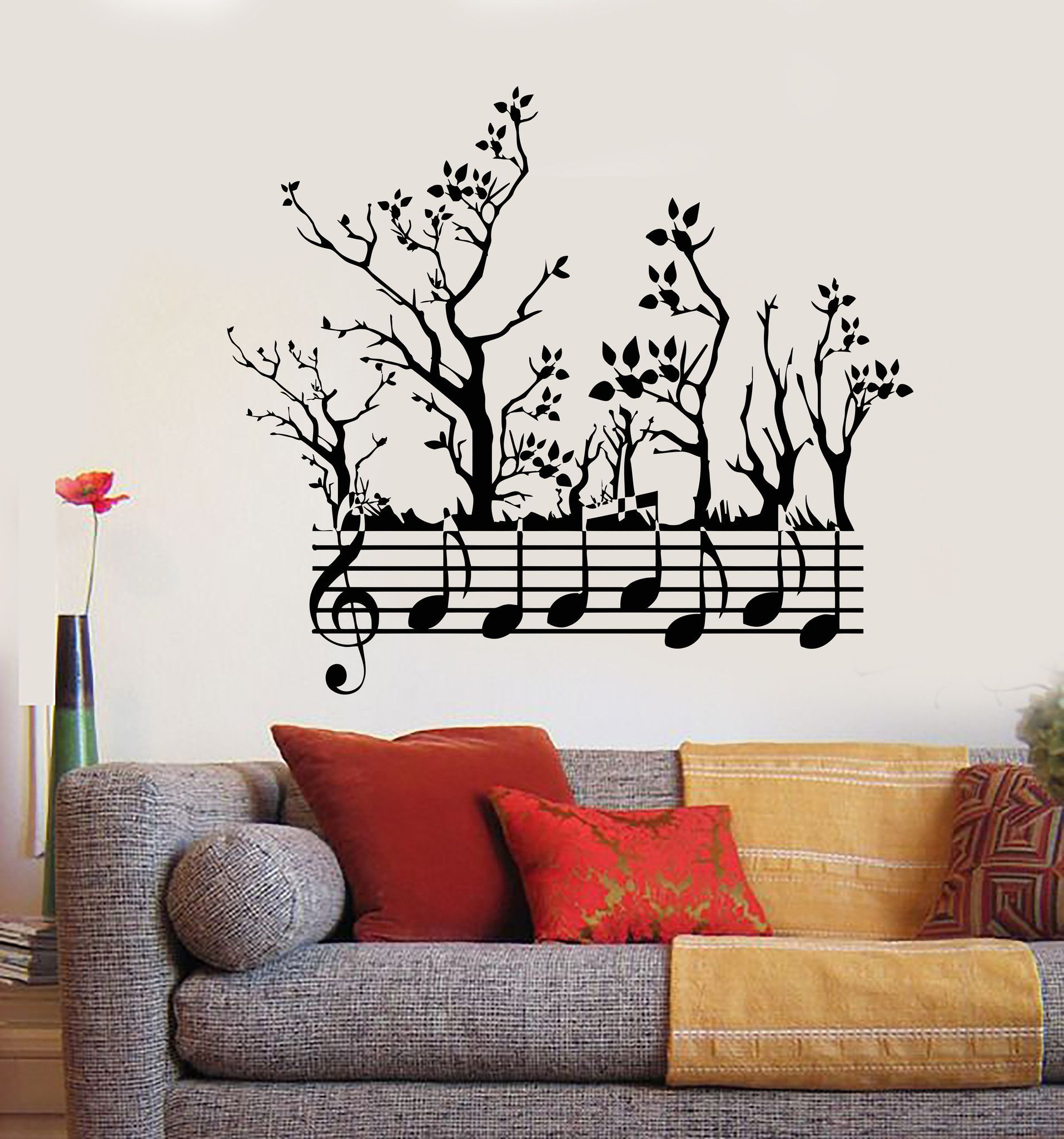 vinyl wall decal forest tree nature notes music musician on wall stickers painting id=12792