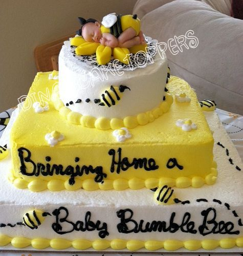 Bumble BEE Yellow Baby Shower First Birthday FONDANT BABY Cake Topper. $20.00, via Etsy.