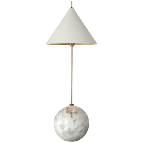 Cleo orb base accent lamp in antique burnished brass with antique white shade