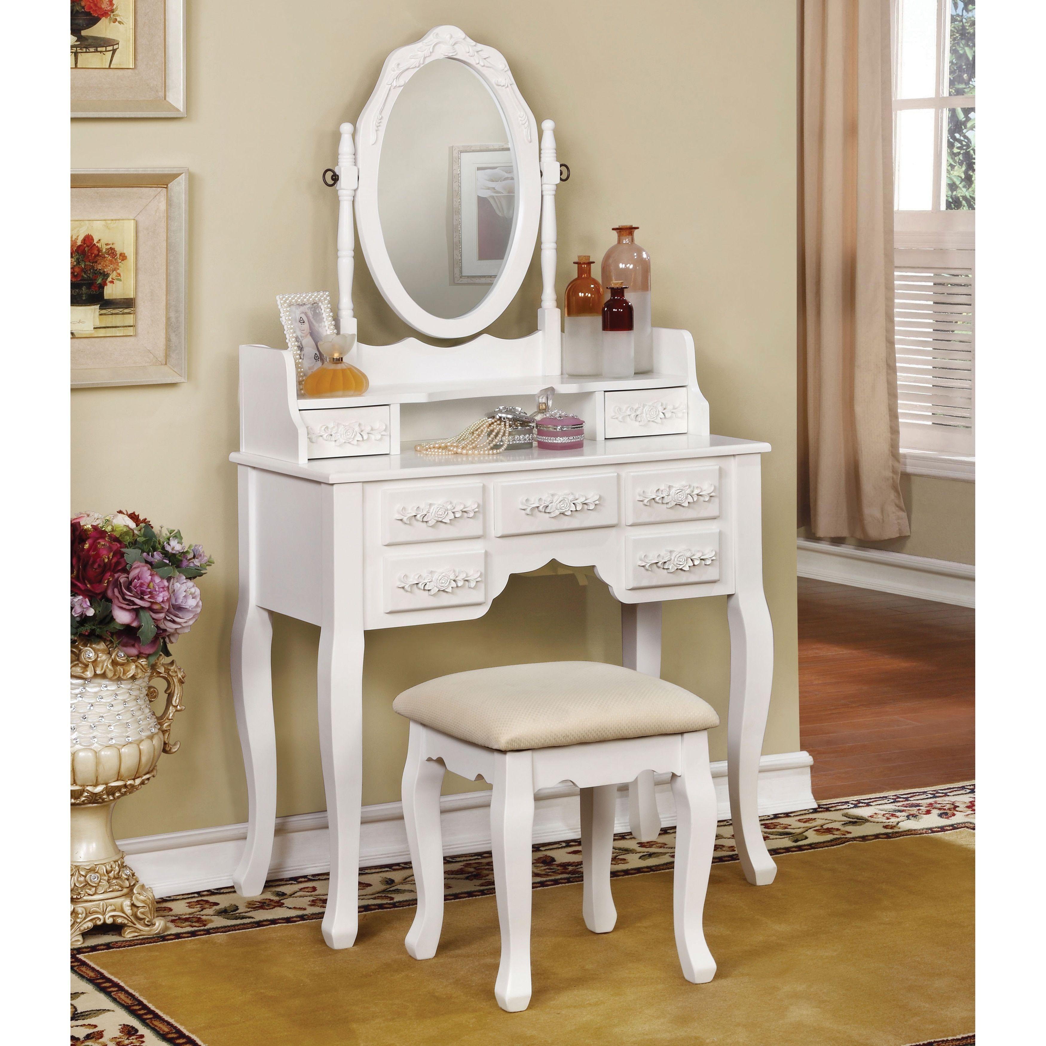 Furniture of america mayla elegant traditional piece vanity table