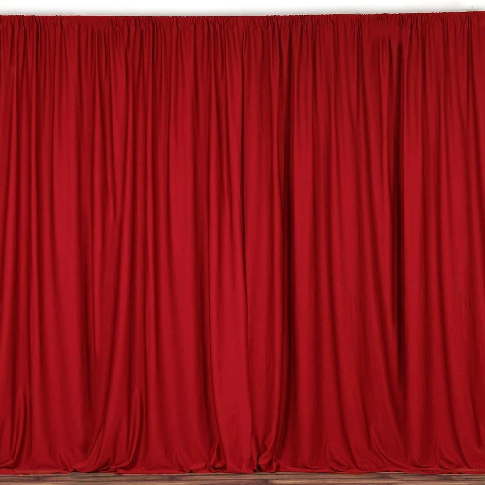 2 Pack 5ftx10ft Red Fire Retardant Polyester Curtain Panel