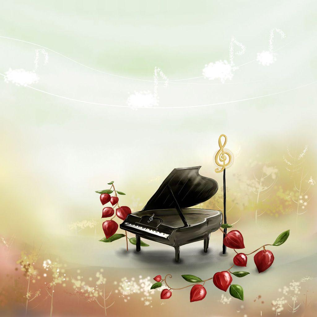 Aesthetic Cartoon Piano Scene iPad Wallpaper iPad