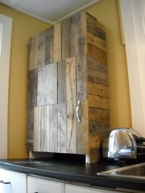 Pallet kitchen cabinet - THIs could possibly work for the kitchen cabinets.  cover just the cabinet door and paint the rest black or white