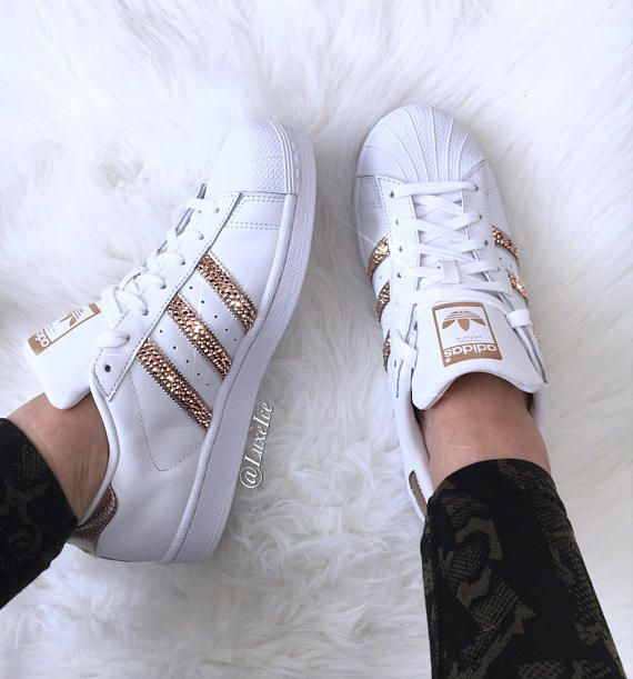 newest 0139e 1a9d1 Adidas Originals Superstar White Rose Gold with SWAROVSKI®