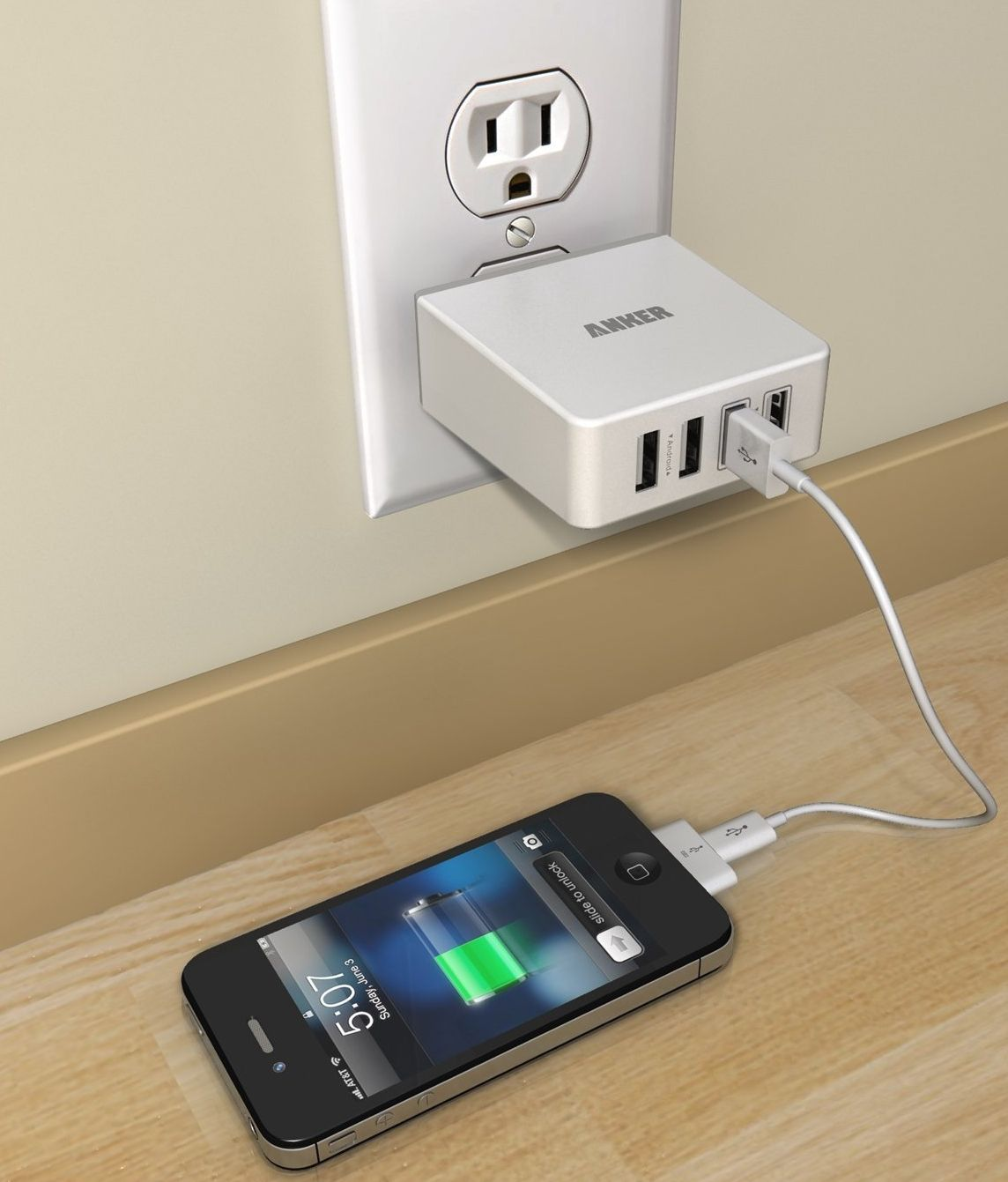 36W/7.2A Quad-Port Compact USB Wall Charger