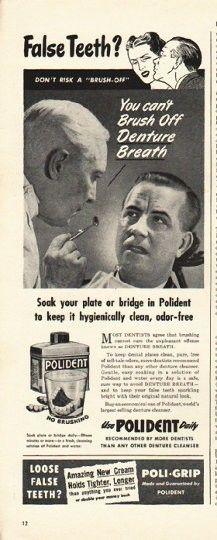 1948 polident denture cleaner ad false teeth vintage ads