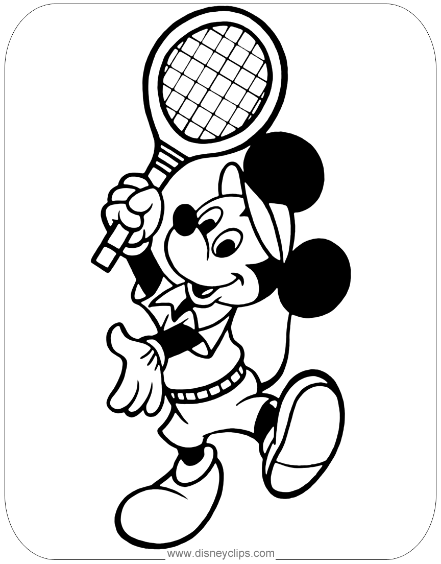 Mickey Tennis Coloring2 Png 864 1 104 Pixels