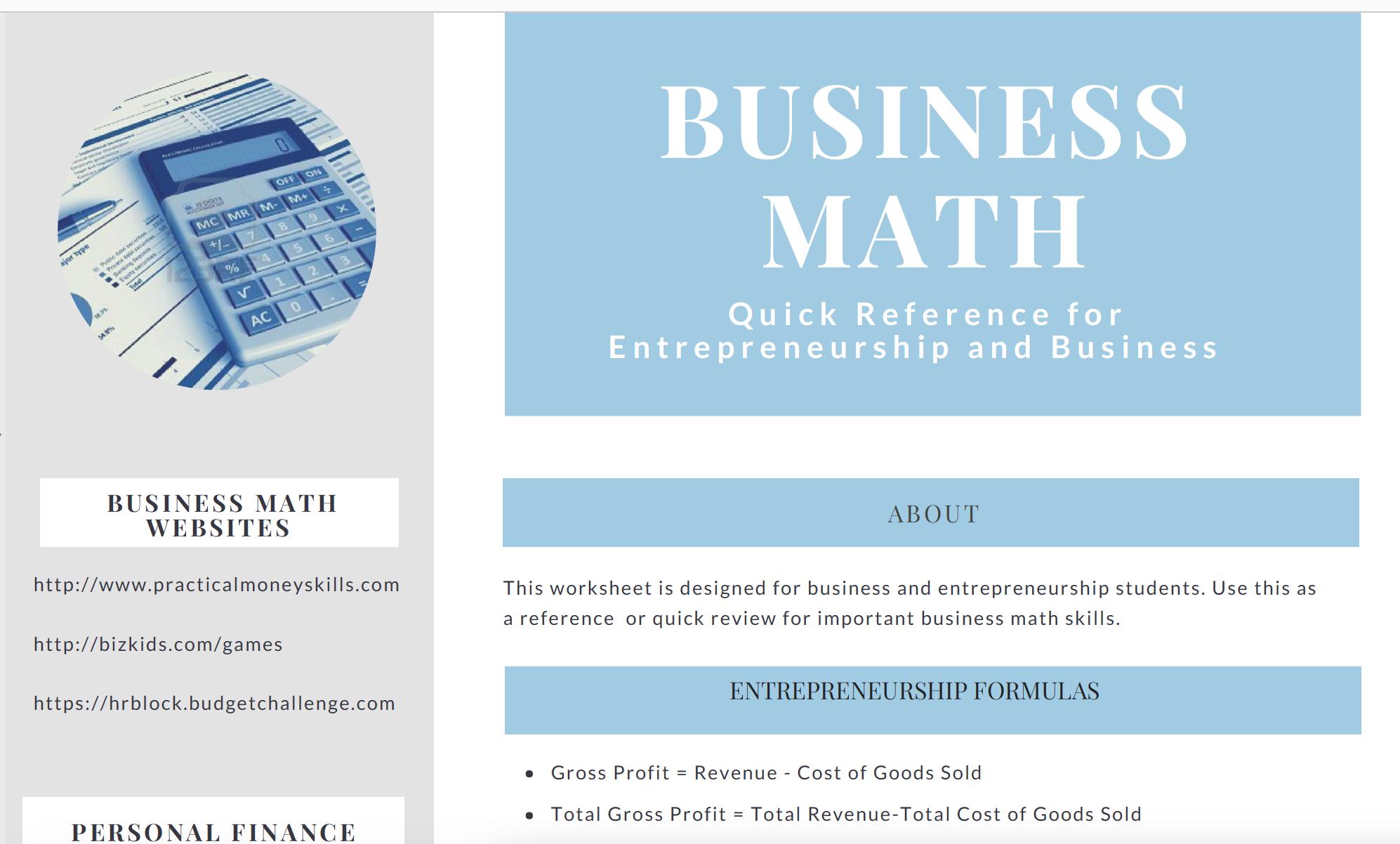 Business Amp Entrepreneurship Math Reference Sheet