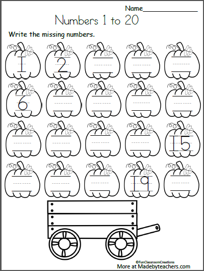 Free Fall Math Worksheets For Kindergarten Numbers 1 To 20 Madebyteachers Kindergarten Fall Worksheets Kindergarten Math Worksheets Kindergarten Worksheets
