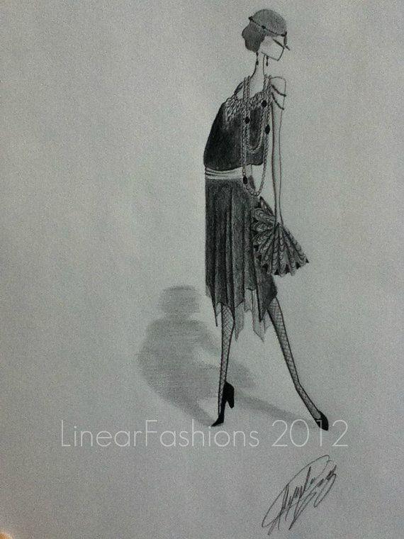 1920s Flapper Dress Art Deco Fashion Illustration from Linear ...