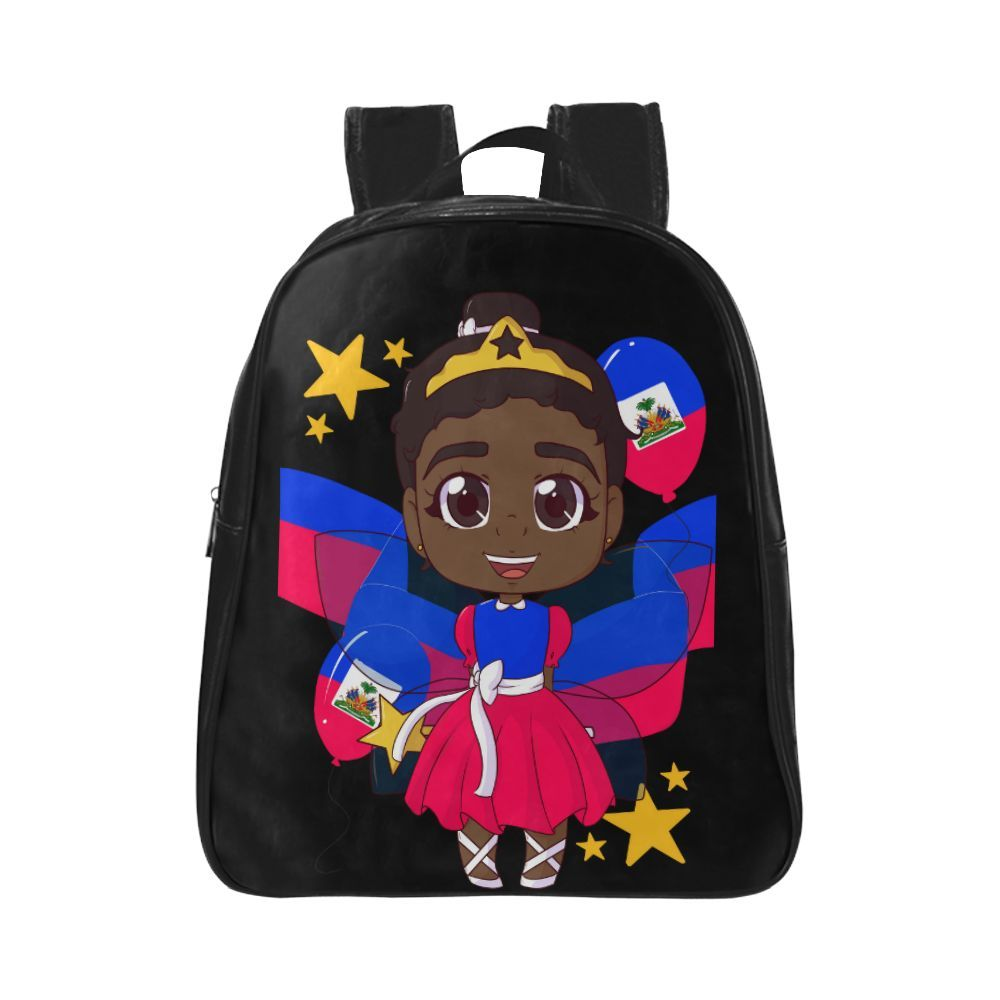 Beautiful Brown Haitian Ballerina Princess School Backpack -5172