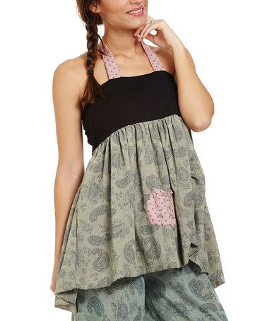 Another great find on #zulily! Celadon Green & Black Multi-Print Halter Top #zulilyfinds