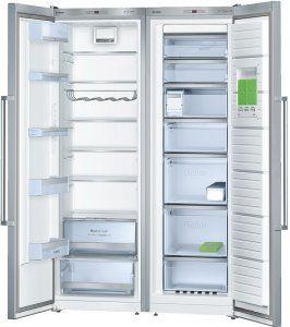 jääkaappi vanhan jääkaapin paikalle, pakastin irtokaapin viereen  Bosch KSV36MI41 jääviileäkaappi ja Bosch GSN36MI31 kaappipakastin, teräs