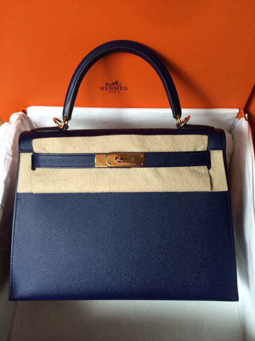 Bnib Kelly 28 blue sapphire ghw sellIer R stamp   Hermes Kelly ... 0cf89b3c4c
