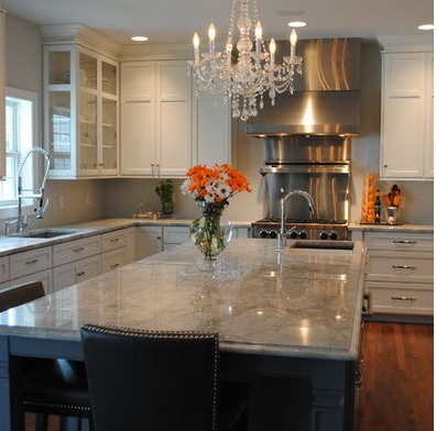 Best White Cabinets Light Grey Counters Dark Grey Island 400 x 300