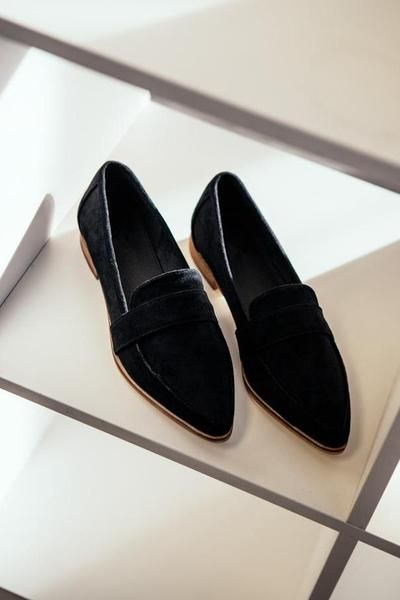 Dressy flats shoes, Black loafers