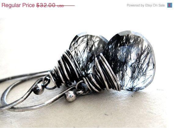 SALE 15 OFF Tourmalinated Quartz Earrings  Wire by NovemberJewelry, $27.20