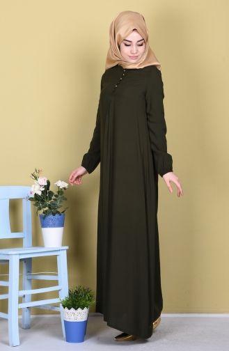 Sefamerve Dugme Detayli Viskon Elbise 1250 03 Haki Yesil Elbise Elbiseler Elbise Modelleri