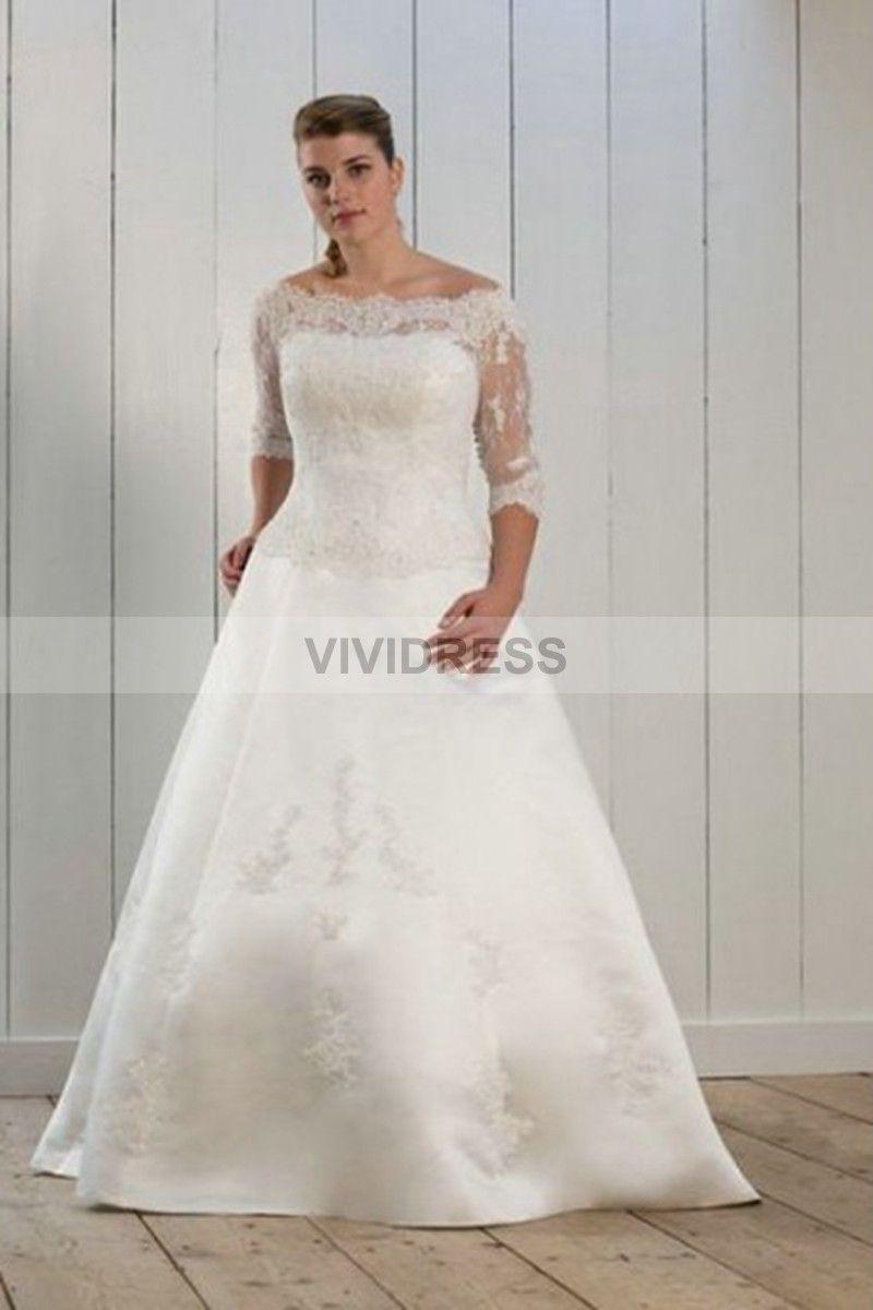 Plus size white wedding dress  Aline Court Train Offtheshoulder Satin Plus Size Wedding Dresses