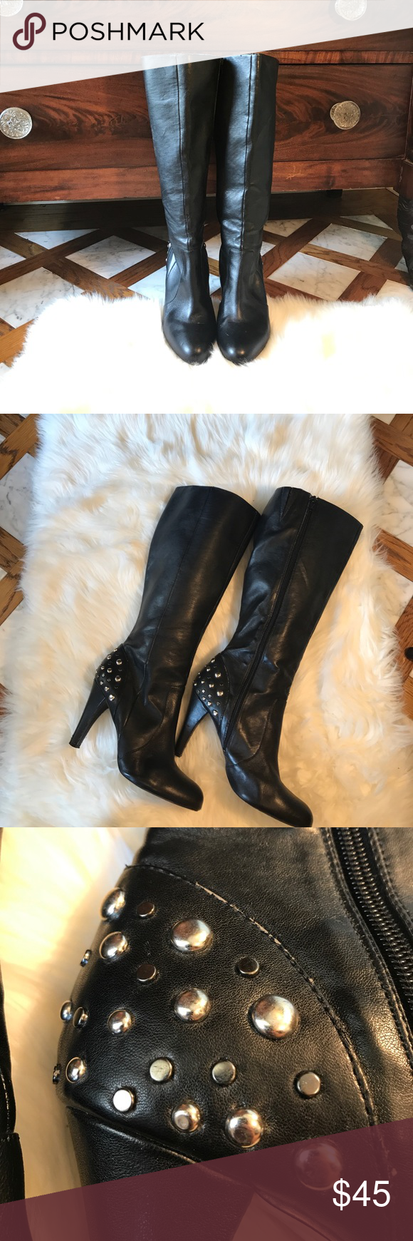 White House Black Market Tall Black Boots Studs 9 White House Black Market Tall Black Boots Studs 9. Very little wear but there are a few minor scuffs... last photo White House Black Market Shoes Heeled Boots