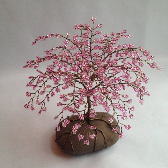 Whimsical Cherry Blossom Tree Cherry Tree Sculpture Beaded Decoration Unique Gift Glass Beads Pink Custom Made Blossom Trees Cherry Blossom Tree Tree Sculpture